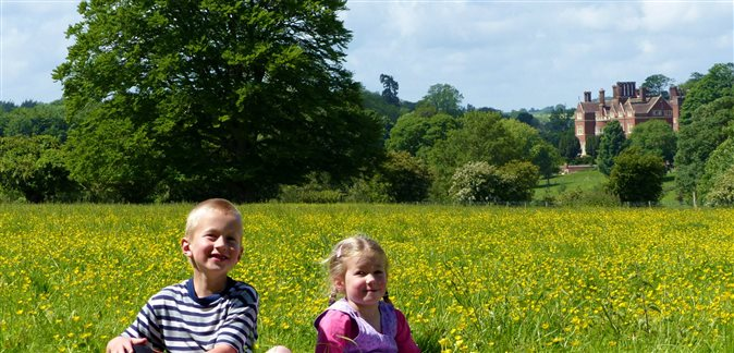 An image of two children sitting in a field of yellow flowers with the Beech Grove Community visible in the background