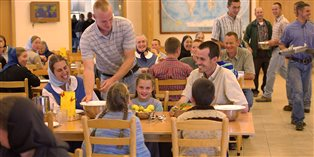 a mealtime at an intentional Christian community