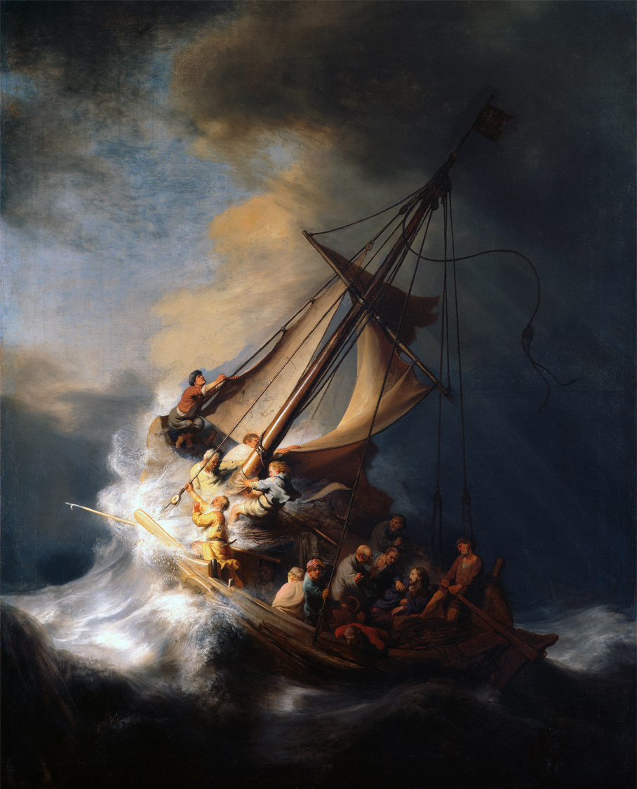 painting of Jesus and his disciples on a storm sea