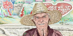 Leonard Knight and Salvation Mountain, painted by Jason Landsel